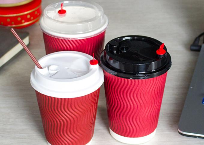 Biodegradable Plastic Paper Cup Covers , Disposable Cup Lids Shapes Customized