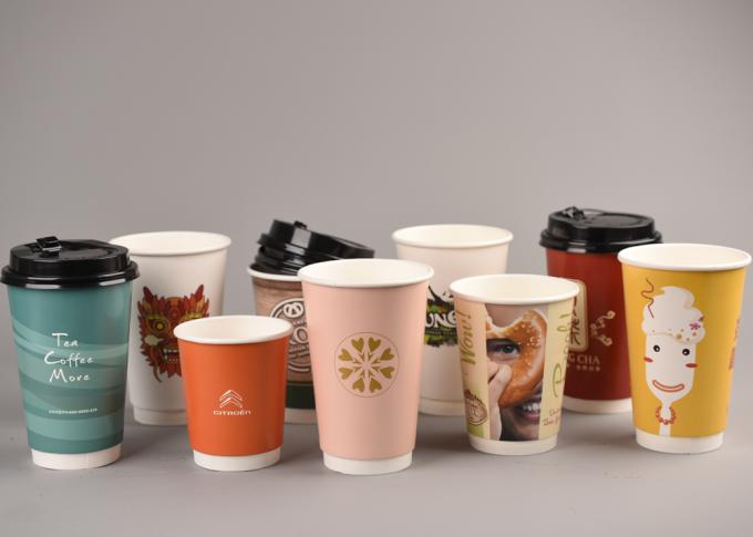 Recyclable Hot Insulated Paper Cups For Coffee / Tea , Eco Friendly