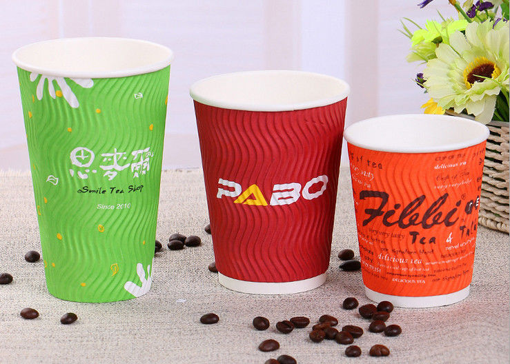 Colourful Printed Take Away 20 Ounce Paper Coffee Cups With Lids Food Grade