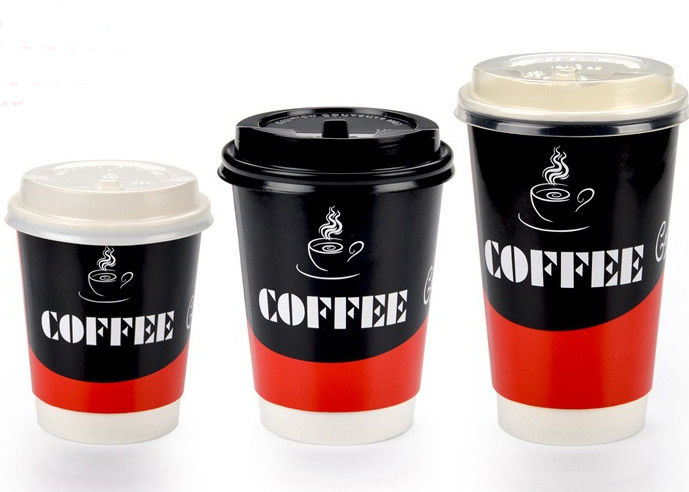 Two Wall Paper Drinking Cup For Cafe Takeaway Coffee Cups With Lids