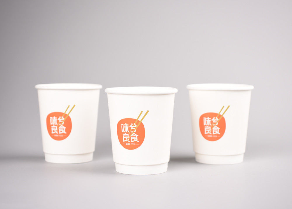 Size 250ml Kraft Insulated Paper Cups For Hot Beverage , White Color