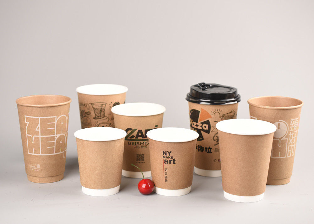 8oz 12oz 16oz Kraft Double Wall Paper Cups PE Coated With Plastic Lids