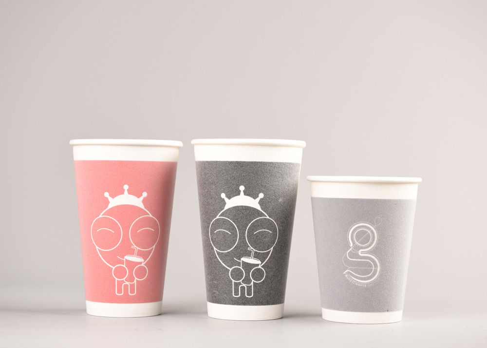 Double Walled Paper Coffee Cups , Heat Resistant Disposable Hot Beverage Cups