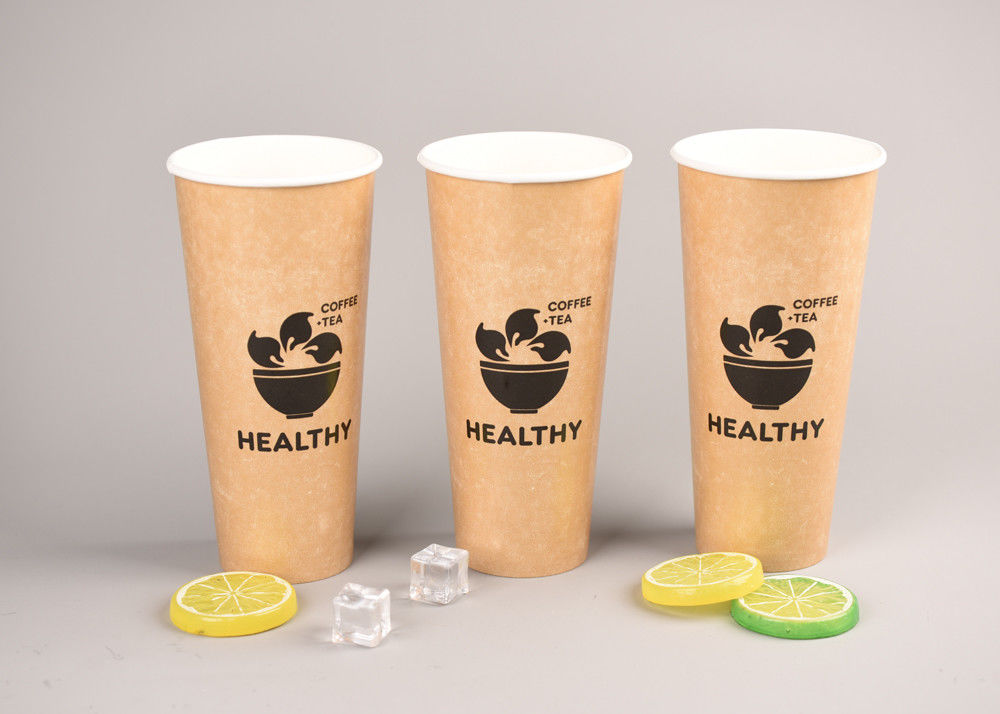Brand Printing 20oz Cold Paper Cups / Disposable Smoothie Cups With Lids