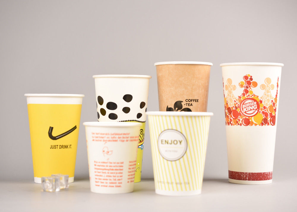 Custom Printing Cold Paper Cups Take Out For Soda / Iced Tea , Eco - Friendly