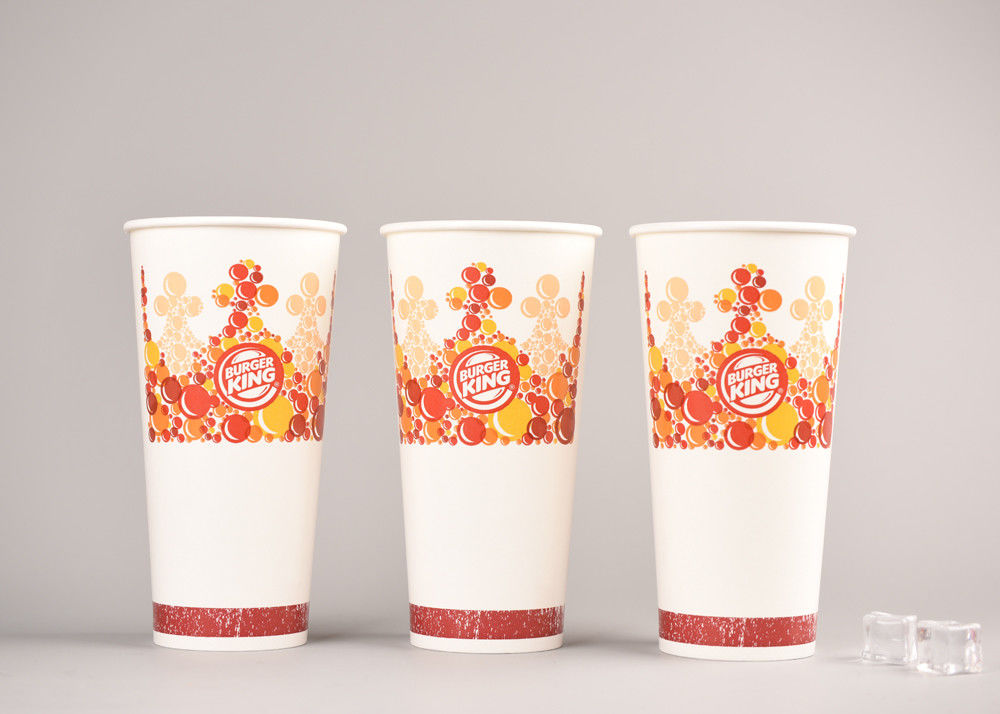 26oz 800ml Biodegradable Cold Paper Cups With Plastic Lids Various Size