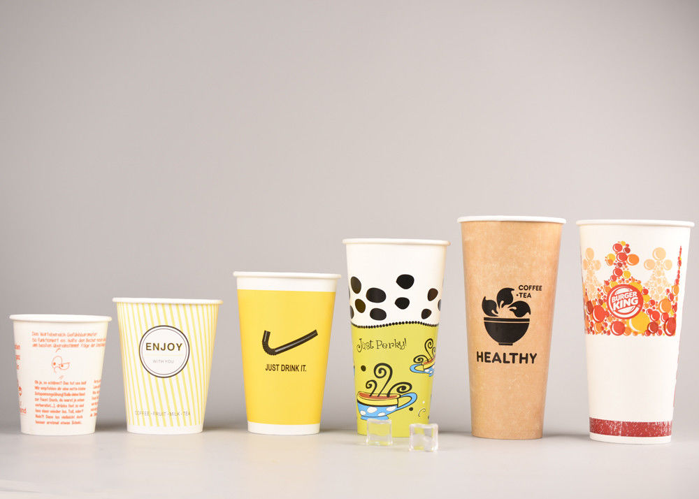 Single Wall Drinking Cups With Lids For Cold Beverages , PE Coating Paper Materials