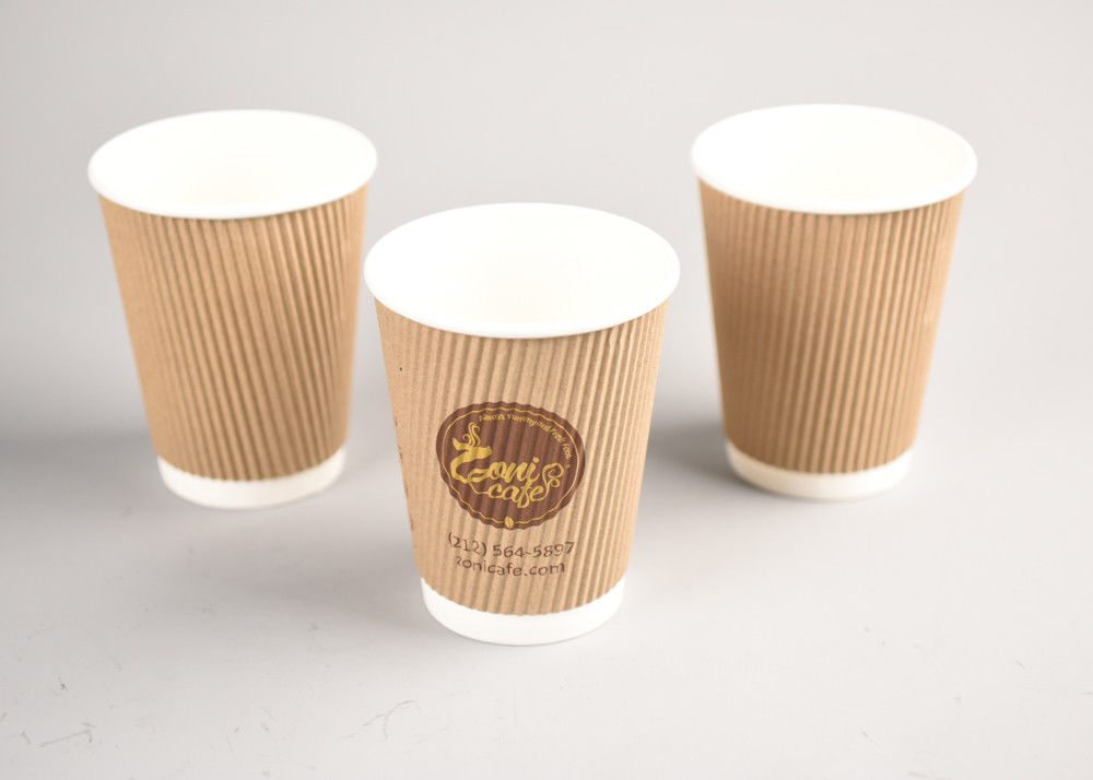 8oz 12oz Kraft Triple Wall Cups Disposable With FDA Approved Paper