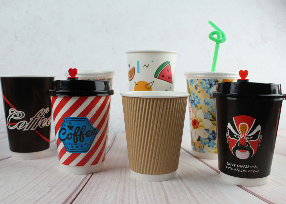 Double Wall Paper Drinking Cup Coffee Disposable Cups 290ml 420ml 480ml