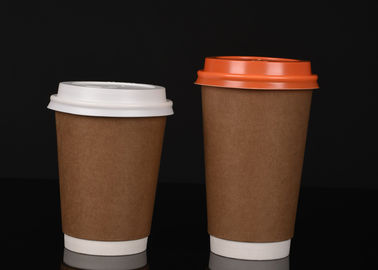 China Kraft Insulated Paper Cups , Biodegradable Hot Chocolate Cups With Lids factory