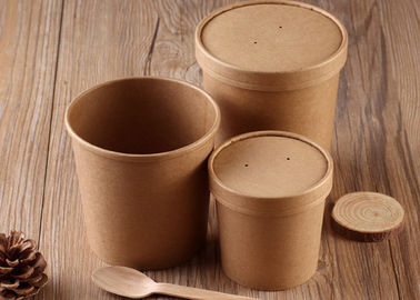 Disposable Kraft Paper Soup Cups Containers With Cover And Spoon 16oz 20oz Size