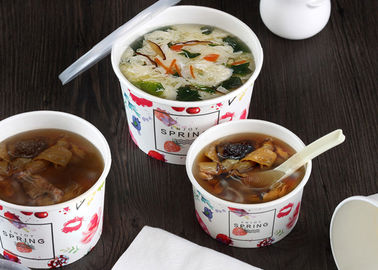 Logo Printing Takeaway Soup Containers , Disposable Soup Containers With Lids
