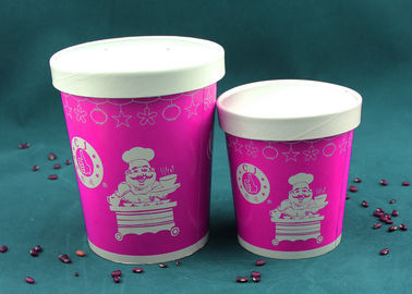 China Purple Paper Soup Cups , Insulated Disposable Soup Bowls With Logo Printing factory