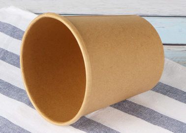 China Eco Friendly Paper Soup Cups With Lids , Brown Kraft Paper Soup Containers factory