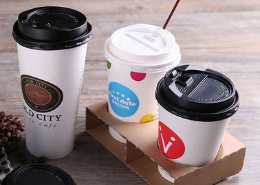 Custom Printed Single Wall Paper Cups For Cold Drinking With Plastic Lids