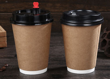 Branding Paper Drinking Cup / Insulated Disposable Coffee Cups With Lids