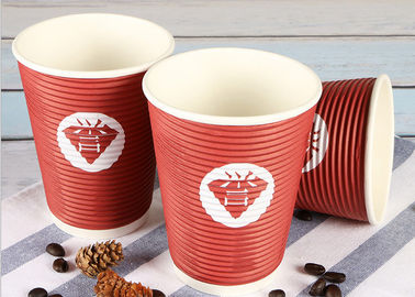 Takeaway Eco Friendly Coffee Cups , Red Disposable Hot Beverage Cups