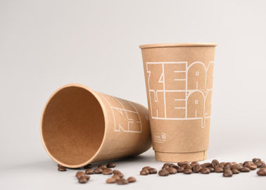 China Kraft Personalized Paper Coffee Cups / Disposable Drinking Cups 8oz 12oz 16oz factory