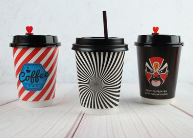 Disposable Insulated Coffee Cups Double Wall Printed Cups With Lids